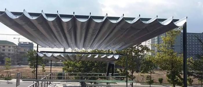 Báo giá mái xếp, bạt xếp bạt kéo lùa lượn sóng di động phát đạt tại gò vấp